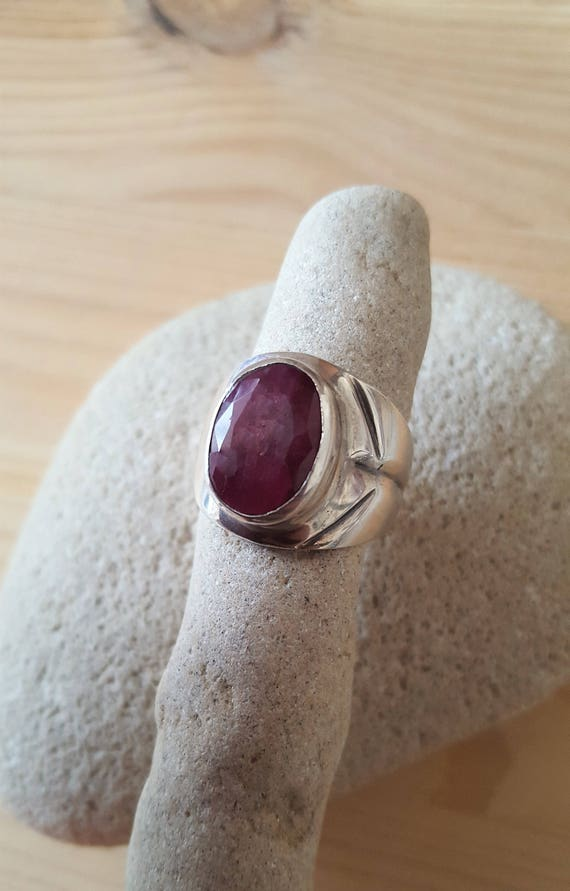 Ruby Sterling Silver 925 Statement Artisan Ring. … - image 1
