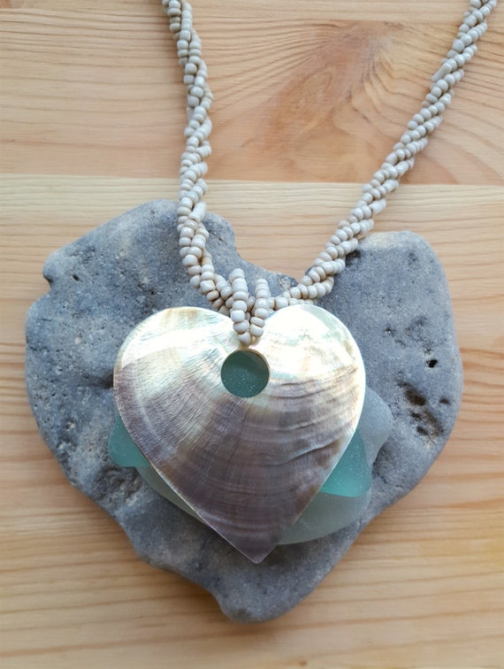 ON SALE...Gorgeous Abalone Heart Shell Neutral Ton