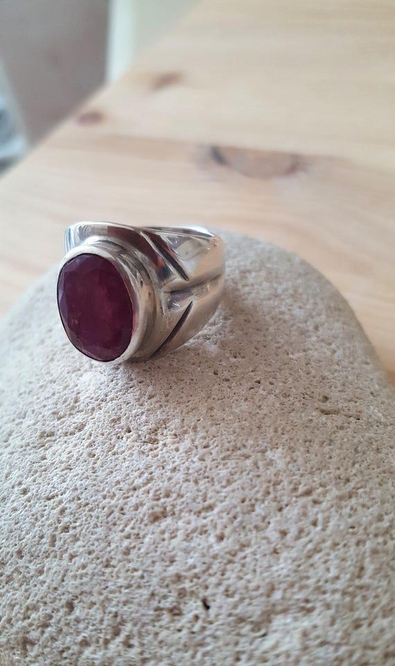 Ruby Sterling Silver 925 Statement Artisan Ring. … - image 6