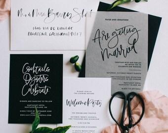 The Paige - Vellum, Black and White Wedding Invitation Suite Sample Pack