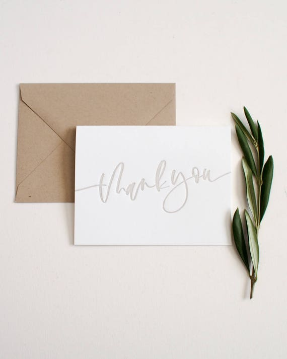 Letterpress Thank You Card Envelope Etsy