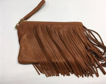 Brown Fringed Clutch Wristlet Tan