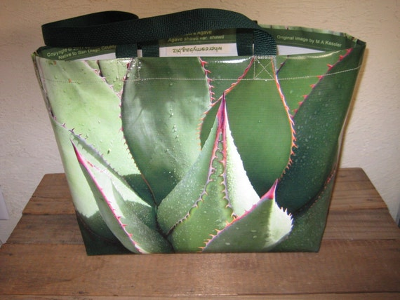 Assorted Succulents Large Vinyl Tote Bag Different image on each side