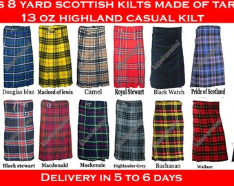 Men's 8 yard Scottish kilts made of Tartan 13 oz Highland causal kilt delivery in 5 to 6 days by DHL