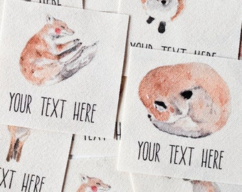 Whimsical Watercolor Fox and Flowers, Personalized Sewing Labels for Handmade Items - Logo Tags, Customized