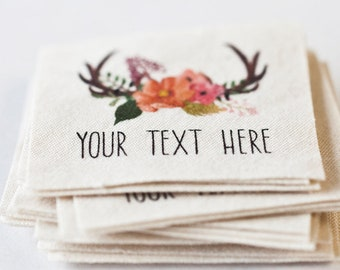 Floral Antlers Fabric Labels - Personalized tags on organic cotton (labels for handmade items) - for knitting, crochet, or sewing projects
