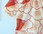Cyber Monday SALE Peach and coral flower short sleeve-shirt, medium