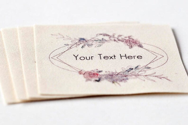 Geometric Floral Frame Labels 100/% Organic Cotton Personalized Wedding Labels