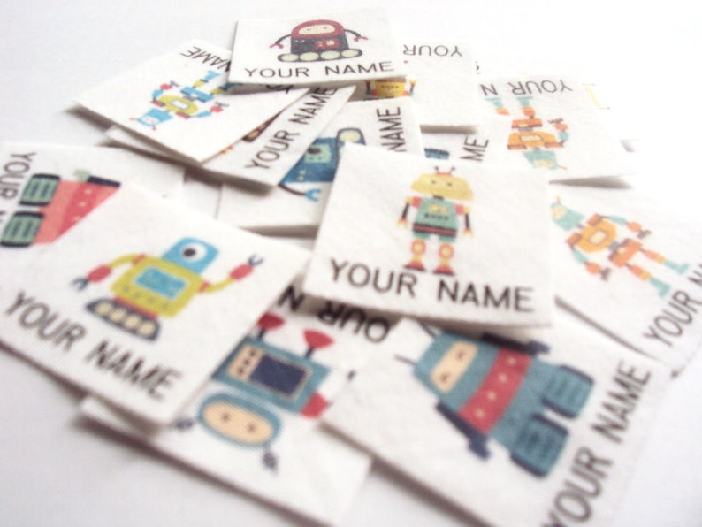 Personalized Iron On Name Tags with Robots Children/'s Clothing Labels back to school