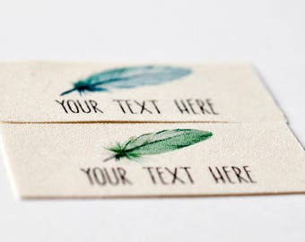 Watercolor Feather Labels - Personalized Tags on Soft Organic Cotton For Handmade Items, Handwovens, or Hand Knits