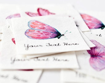Watercolor Butterfly Labels for Handmade Items - Tags for Kids' Clothing, Personalized