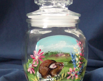 Spring Bunny in Wildflowers on lidded glass container
