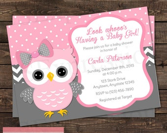 Owl baby shower invitation etsy pink polka dot and gray chevron girl owl baby shower invitation filmwisefo