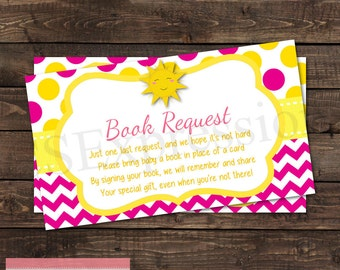 You Are My Sunshine Girl Baby Shower Book Request Card