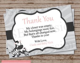 Mom and Baby Zebra Baby Shower Thank You Card