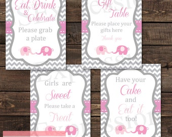 Pink and Gray Chevron Elephant Baby Shower Table Signs