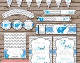 Blue and Gray Elephant Baby Shower Printable Party Package