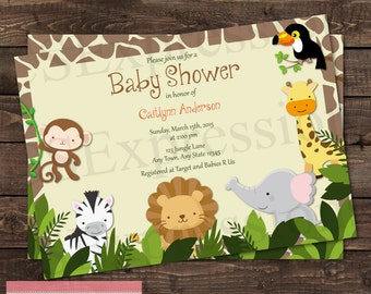 Jungle Animal Baby Shower Invitation