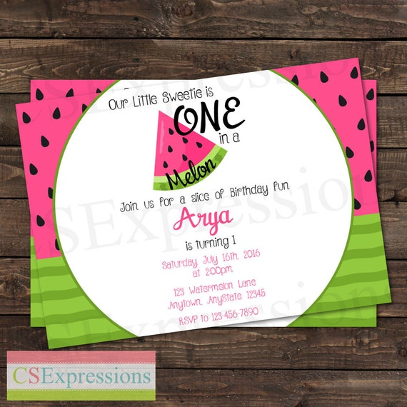 one in a melon pink and green watermelon birthday party etsy