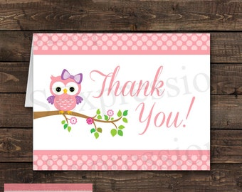 Pink Polka Dot Girl Owl Baby Shower Blank Folded Thank You Card