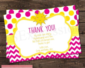 You Are My Sunshine Girl Baby Shower Thank You Card