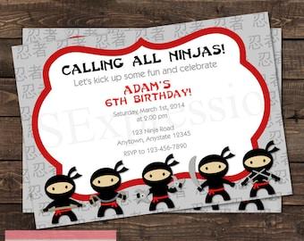Ninjas Karate Birthday Party Invitation