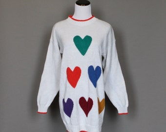 SALE Vintage 1980s Sweater 80s Heart Long Baggy Jumper White with Orange Green Blue Purple Maroon Yellow Hearts Over Sized Meium Large