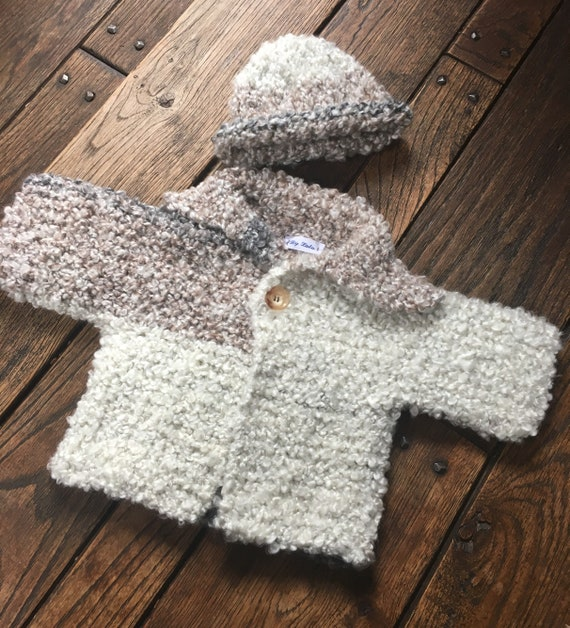 c557e685c2cb Baby boy hand knit 6 month Sweater and hat Light Brown and