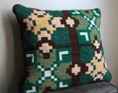 Handmade Vintage Needlepoint Decorative Throw Pillow - Mission Cozy