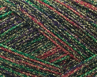 25 grams 114 Yards Made in Japan Hamanaka Actress Lam\u00e9 Yarn #3 Green Brown Gold Rich More Fine Weight Sparkly Poly Acrylic
