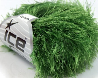 Grass Green Long Eyelash Yarn Ice Fun Fur 22787 - 50 gram