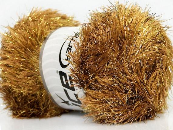 Large 100 Gram Skein Green Eyelash Dazzle ICE Metallic Eyelash Yarn 42261