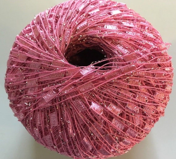 Princess Glitz Ladder Ribbon Yarn Dark Horse Beautiful B102 Pink Silver Metallic