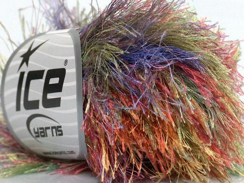 Extra Long Rainbow Eyelash Yarn 32 yards 50 gram Ice #48241 Long Eyelash  Colorful Green Blue Orange Pink & More