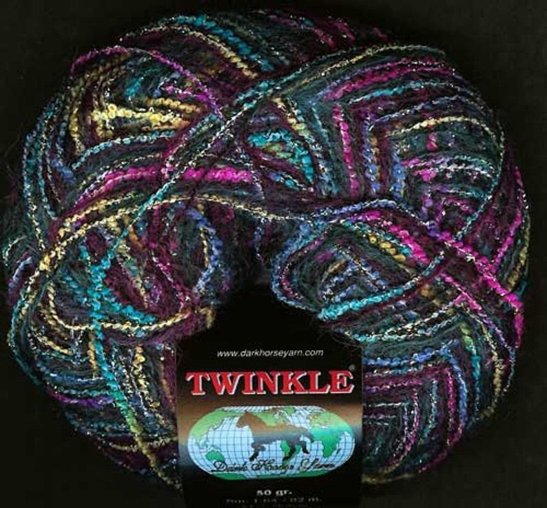 Dark Horse Twinkle #1 Carnivale Mohair Metallic Boucle Yarn Pink Green Blue Yellow Turquoise Wine with Metallic Sparkle 50 gram 88 yards
