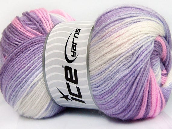 Mauve 100gr Magic Baby #50006 Lilac Pink White Acrylic Yarn 393yds