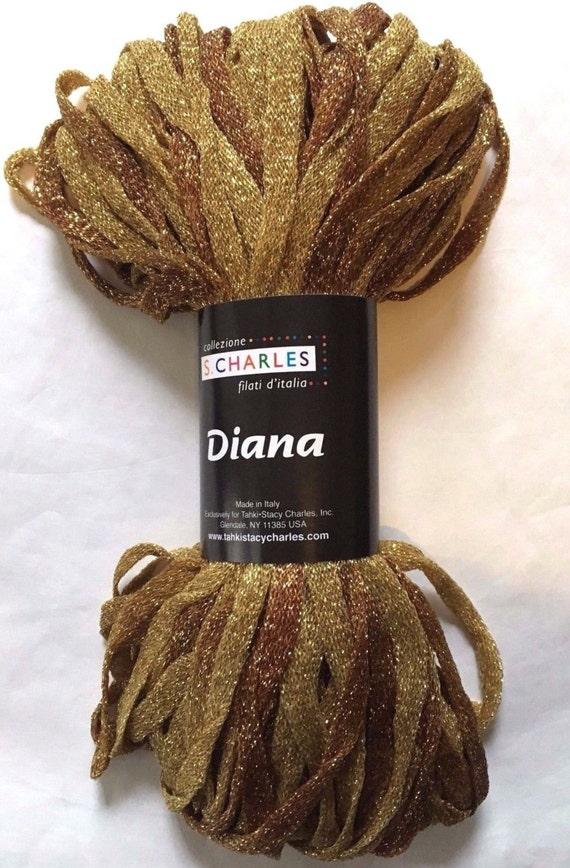 "S Charles Diana Metallic Ribbon Yarn #4 Copper Canyon 50gr 1//4/"" x 63yds"