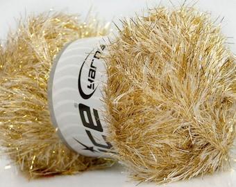 Large 100 gram skein Cream Gold Eyelash Dazzle #42668 Ice Metallic Eyelash Yarn