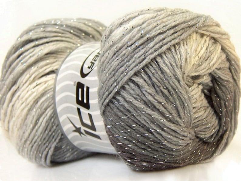100 gr Magic Glitz 22049 Greys White Silver Metallic Self-Striping DK Yarn