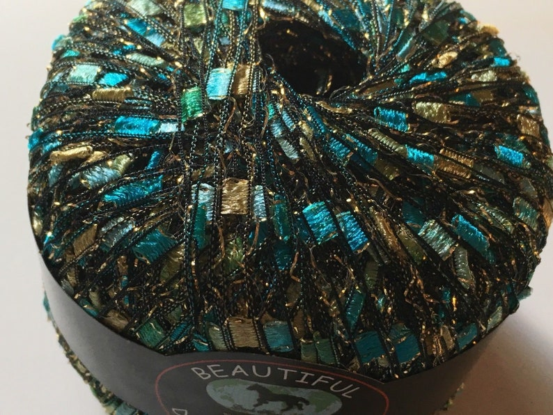 Seashore Glitz Ladder Ribbon Yarn Dark Horse Beautiful #S103 Blue Gold Metallic