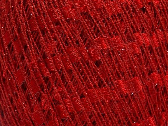Red Mini Ladder Glitz Ribbon Yarn #58131 Ice Red w// Metallic Accent 50 Gram