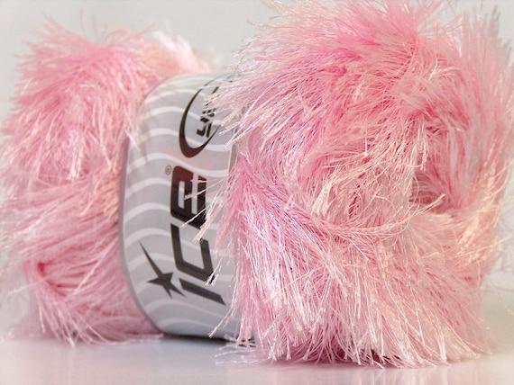 Baby Pink Eyelash Yarn Ice Pink Polyester Fun Fur 22765 50gram