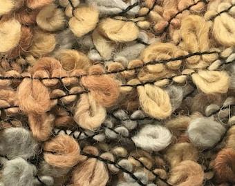 Dark Horse Yarns Boucle #02 Pebbles - Beige Gray Light Brown Bulky Wool Blend 100 Gram 87 Yards