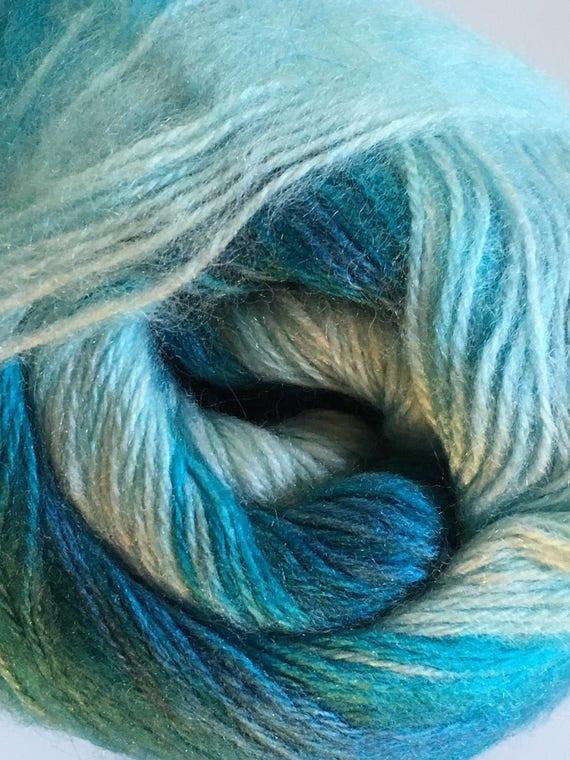 Blues White Sport Yarn Stripe 546y 100gr Angora Active Sea Foam 58016 Turquoise