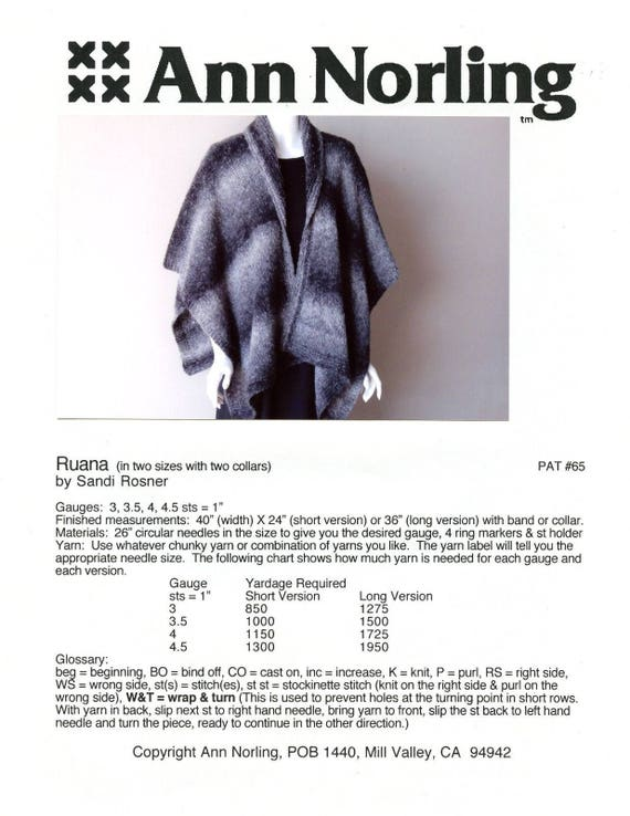 Ann Norling Knitting Pattern 65 Ruana In 2 Sizes With 2 Etsy