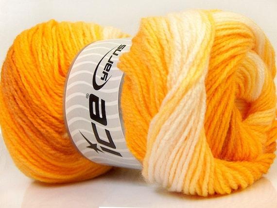 100gr Magic Light #22019 Yellow Apricot Orange Cream Ice Self-Striping DK Yarn