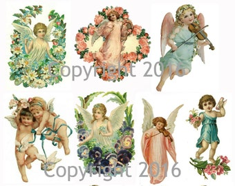 victorian angels and cupids images collage sheet digital scrapbooking prints instant digital download