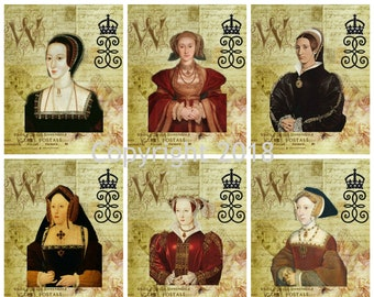 Printable 6 Wives Of Henry Viii Collage Sheets Instant Digital Download Scrapbooking ATC Altered Art JPG And PDF Gift Tags