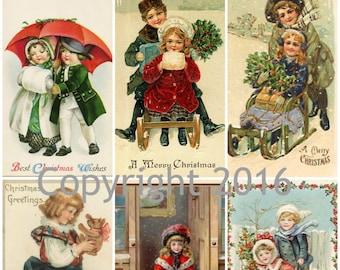 Victorian Images  Children Christas Card Collage Sheet 103, Digital Scrapbooking, Prints, Instant Digital Download