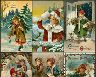 Victorian Images  Children Christas Card Collage Sheet 102, Digital Scrapbooking, Prints, Instant Digital Download